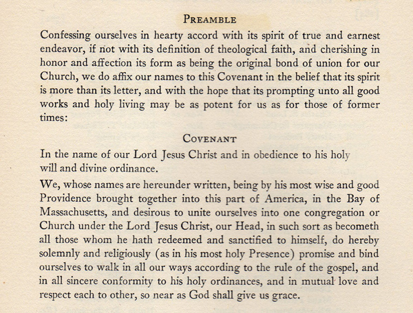 Dr. Park's Preamble to the 1630 Covenant
